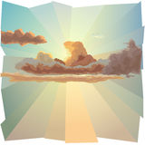 Background with cloud and sun's rays. Royalty Free Stock Photo