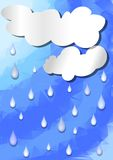 Background with clouds cut out paper and raindrop on polygonal sky Royalty Free Stock Photo