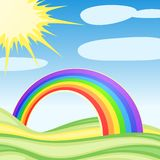 Background with clouds and a rainbow Stock Images