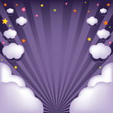 Background With Clouds And Stars. Vector Stock Image