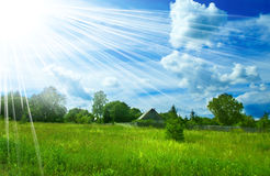 Background of cloudy sky and grass Royalty Free Stock Image