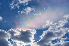 Background of cloudy sky with rainbow cloud Royalty Free Stock Image