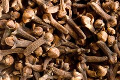 Background of clove. Close-up of several seeds Stock Image