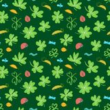Background with clover leaves and insects. Seamless pattern with. Cute bugs, ladybirds, dragonfly, caterpillar. Vector illustration in doodle style. Design Royalty Free Illustration