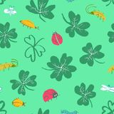 Background with clover leaves and insects. Seamless pattern with. Cute bugs, ladybirds, dragonfly, caterpillar. Vector illustration in doodle style. Design Stock Illustration