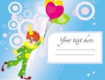Background with clown. Vector drawing with funny clown and abstract pattern Royalty Free Stock Image