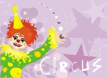 Background with clown. Vector drawing of clown and abstract pattern Royalty Free Stock Images