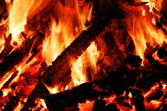 Background with coals, flame and fire Royalty Free Stock Photos