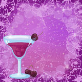 Background with Cocktail, Cherry and Flowers Stock Photography