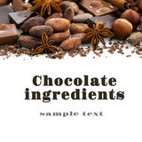 Background with cocoa beans, various chocolate and spices Royalty Free Stock Image