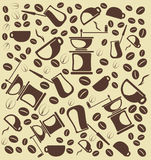 Background from  coffe and coffe accessories. A vector illustration Stock Photography
