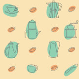 Background with coffee accessories. Vector seamless with coffee beans, mugs and coffee kettles Stock Image