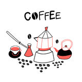 Background with coffee appliances Royalty Free Stock Photos