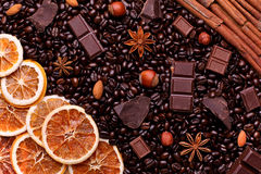 Background of coffee beans, chocolate chips, spices, nuts and ca Royalty Free Stock Photo