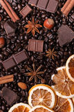 Background of coffee beans, chocolate chips, spices, nuts and ca Royalty Free Stock Image