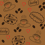 Background with coffee. Beans and Cup Stock Photography