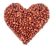 Background from coffee beans  in the form of heart. Stock Image