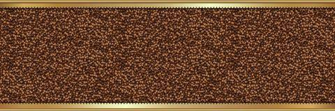 Coffee beans background with gold frame Royalty Free Stock Photography
