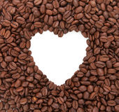 Background from coffee beans laid out in the form of heart. Conc Royalty Free Stock Photography
