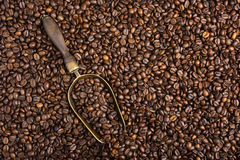 Background with coffee beans and retro scoop Royalty Free Stock Image