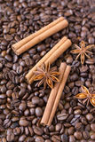 Background of the coffee beans and spices. Coffee beans, cinnamon and star anise Stock Image