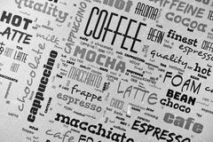 Coffee poster. Background coffee concept with text Royalty Free Stock Photo