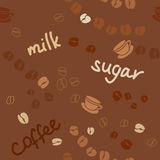 Background with coffee grains and the words Stock Photography
