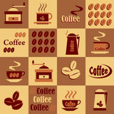 Background with coffee icons Royalty Free Stock Image