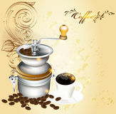Background with coffee mill, grains and cup Stock Photo