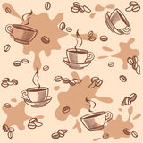 Background with coffee seamless Royalty Free Stock Images
