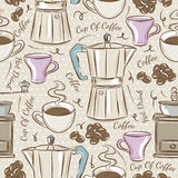 Background with coffee set Stock Images