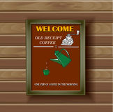 Background for coffee shop. Coffee pot, cup,  old coffee mill Royalty Free Stock Photography