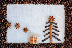 Background with coffee. Top view of roasted and ground coffee to a whole, unground coffee beans background. Stock Images