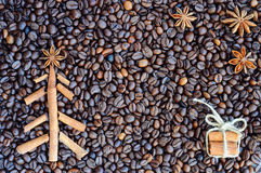 Background with coffee. Top view of roasted and ground coffee to a whole, unground coffee beans background. Stock Photo