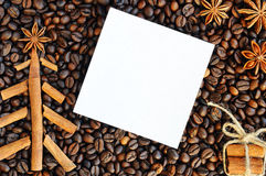 Background with coffee. Top view of roasted and ground coffee to a whole, unground coffee beans background. Royalty Free Stock Photo