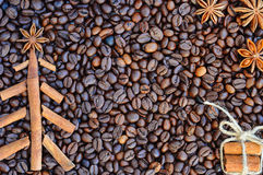 Background with coffee. Top view of roasted and ground coffee to a whole, unground coffee beans background. Stock Photos