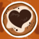 Background coffee2. Vector coffee background for romantic cards banners flyers with a picture of the heart Stock Photography