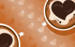 Background coffee3. Vector coffee background for romantic cards banners flyers with a picture of the heart Stock Photography