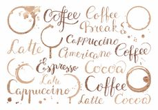 Background with coffee words in retro style Stock Images
