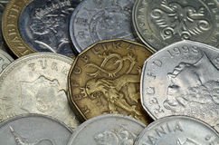 Background-coin of the different countries Stock Photos