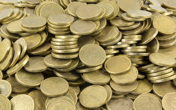 Background of coins. Many coins Stock Photos