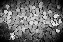 Background of coins. Many coins. Russian ruble Stock Photo