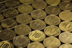 Background of coins (10 RUR) Stock Photos