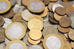 Background of coins Russian rubles Stock Images