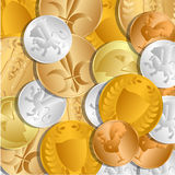 The background of the coins. The treasure of gold and silver coins lying loose on each other. Vector Image. Stock Photo