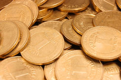 Background from coins of Ukraine. Background from metal coins of Ukraine royalty free stock photos