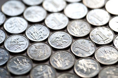 Background of Coins. A background of very old Indian coins Stock Photos