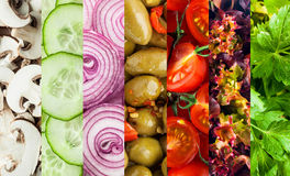 Background collage of diced fresh vegetables. For a healthy vegetarian diet showing mushrooms, cucumbers, olives, tomato, frilly lettuce and parsley in parallel stock photography