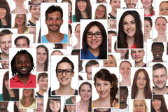 Background collage group portrait of multiracial young smiling p Royalty Free Stock Photos