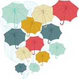 Background with collor umbrellas. Vector autumn Stock Images
